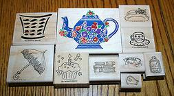 10 RUBBER STAMPS, STAMPIN' UP WOOD, HATS BOOKS BASKET TEA PO