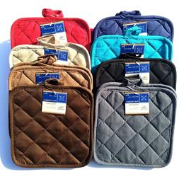 2pk Quilted Cotton Kitchen Pot Holders Heat Resistant Up To