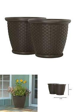 2-Pack 18 in. Round Planter Java Blow Molded Sonora Resin In
