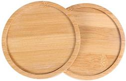 SQOWL 2 Pack 5.7 Inch Bamboo Tray Round Plant Saucer Plant P