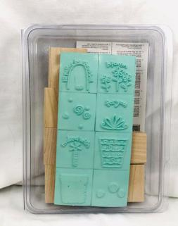 2005 Stampin Up FUN FILLED Rubber Stamps Retired Flower Pot