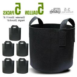5 Gallon 5 Pack Grow Bags Fabric Pots Root Pouch w/ Handles