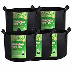 5-Pack 1 Gallon Heavy Duty Thickened Nonwoven Fabric Pots Gr