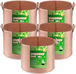 VIVOSUN 5-Pack 2 Gallons Grow Bags Heavy Duty Thickened Nonw