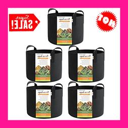5-Pack 7 Gallon Smart Grow Bags Fabric Pots With Handles Bla