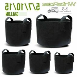 5 Pack Grow Bags Fabric Pots Root Pouch w/Handles Planting C