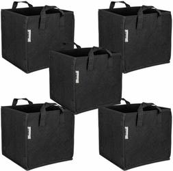 iPower 5-Pack Square Grow Bags Thick Fabric Planting Pots wi