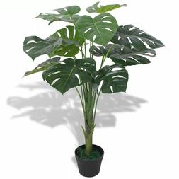 """Artificial Monstera Plant w/ Pot 27.6"""" Green Fake Leaves Tre"""