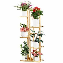 Bamboo Tiered Plant Stand Indoor Outdoor Tall Plant Stands M