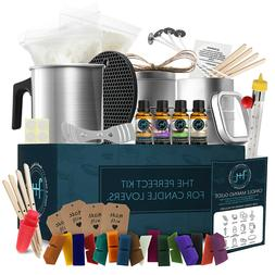 Candle Making Kit, Soy Wax, 16 Color Dyes, Thermometer, Tins