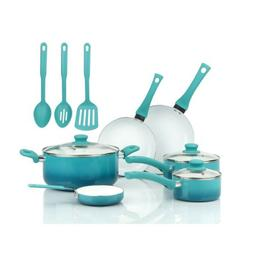 Ceramic Nonstick 12 Pc Cookware Set, Teal Home Kitchen Cook,