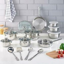 Cookware Set Stainless Steel Kitchen Tools Pots Pans Bowls 1