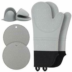 Extra Long Silicone Oven Mitts and Pot Holders Sets : Non Sl