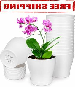 Homenote Pots for Plants, 15 Pack 6 inch Plastic Planters wi