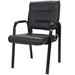 Leather Guest Chair Black Waiting Room Office Desk Side Chai