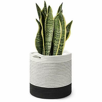 timeyard woven cotton rope plant basket