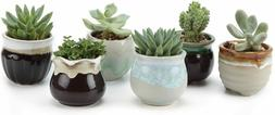 NEW ,Small Ceramic Succulent Pots with Drainage Set of 6, Mi