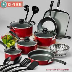 NON STICK Cookware Set New RED 18 PIECE Pots and Pans Alumin