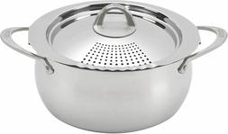 Bialetti Oval 6 Quart Multi-Pot with Strainer Lid, whole pas