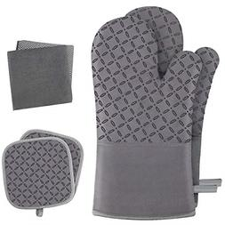 KEGOUU Oven Mitts and Pot Holders 6pcs Set, Kitchen Oven Glo