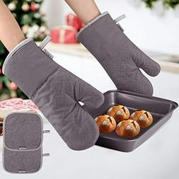Oven Mitts and Pot Holders, Heat Resistant Kitchen Aid Set o