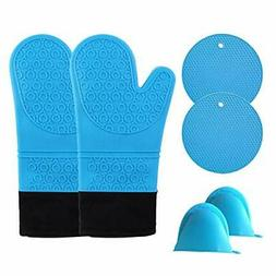Oven Mitts, Long Silicone Oven Mitts and Pot Holders Set, 44