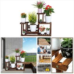 Pine Wood Plant Stand Indoor Outdoor Multiple Flower Pot Hol