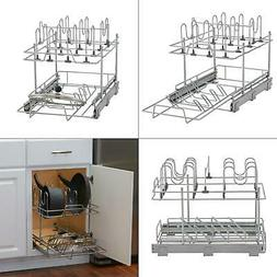 pot and pan lid organizer for cabinet, 14 in. sliding pot an