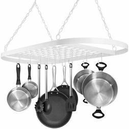 Pot and Pan Rack for Ceiling with Hooks Decorative Oval Moun