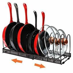 Pot Organizer Rack for Cabinet, Expandable Pan and Lid Rack