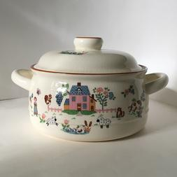 Country Home Jamestown China Pot with Lid Made in Japan Oven