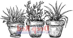 Deep Red Stamps Potted Plants Rubber Cling Stamp