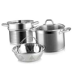 Professional Stainless Steel Pasta Pot with Strainer Insert,