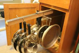 Pull Out Under Cabinet Hanging Pot and Pan Lid Rack Cookware