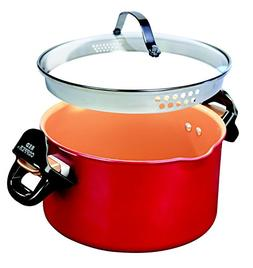 Red Copper Better Pasta Pot by BulbHead, Locking Handles and