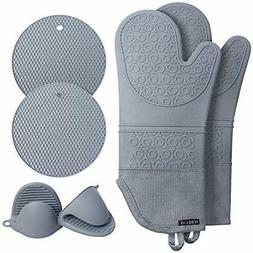 Extra Long Oven Mitts and Pot Holders Sets: Heat Resistant S