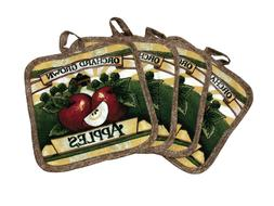 Set of 4 Pot Holders for Kitchen - 7 x 7 inches - Orchard Gr