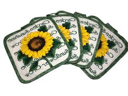 Set of 4 Pot Holders for Kitchen - 7 x 7 inches - Sunflower