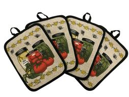 Set of Four Pot Holders for Kitchen 7 inch x 8.5 inch - Pick