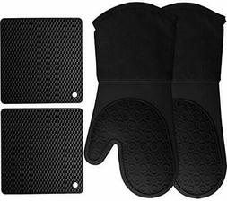 Silicone Oven Mitts and Pot Holders, 4-Piece Set, Heavy Duty