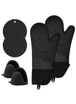 Silicone Oven Mitts and Pot Holders Set, 6 Piece Set with 2