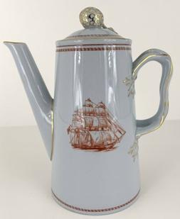 Spode Trade Winds Red Gold Trim Coffee Pot & Lid 4 Cup Ships