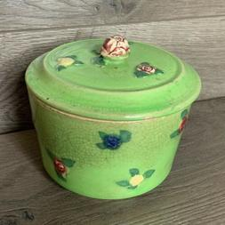 Vintage Biscuit Pot With Lid.  Green With Flowers.  Crackle