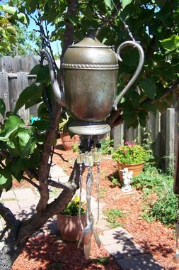 VINTAGE SILVER PLATED WEATHERED COFFEE POT WIND CHIMES