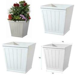 White Resin Beadboard Square Planter 20 in Weather Resistant